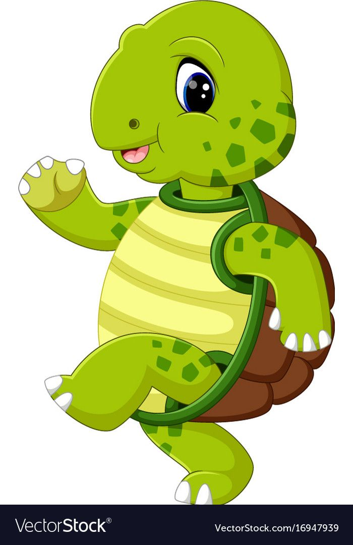 Cute Turtle Cartoon Vector Image On Imagenes Infantiles De