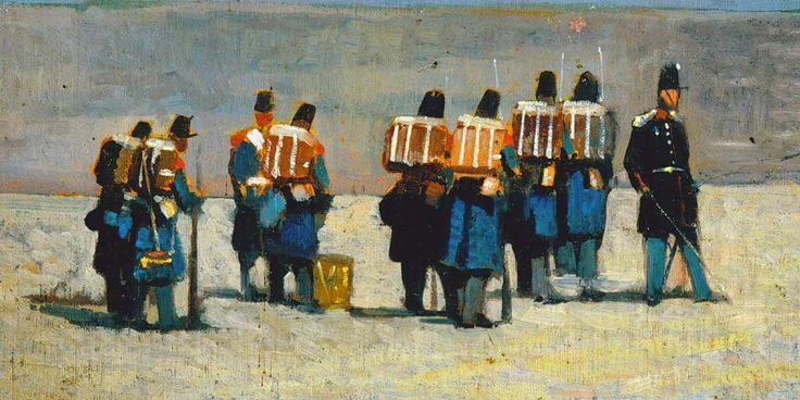 """Giovanni Fattori """"Soldati francesi del '59"""" 1859 Olio su tavola, collezione privata, Milano"""