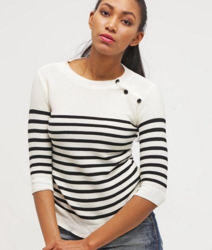 mint&berry Sweter w paseczki black paryski styl