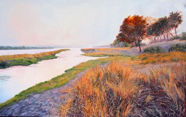 Matetsi - Zambezi River - just before Victoria Falls, Zimbabwe - Painting by Dinah Beaton