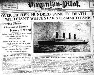 The Titanic tragedy as seen through the eyes of the Virginian Pilot.