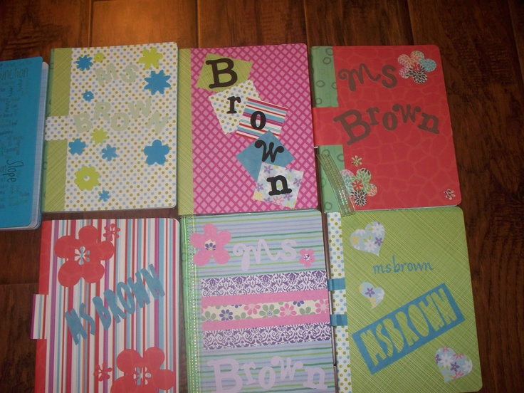 Here are the composition books that I have decorated for my classes the coming year.  We will be using these as interactive notebooks.  I have added a ribbon for a book mark and glued a  folder inside the back cover for incomplete work.  Thanks for all the ideas I have received from pins. They inspire me!!
