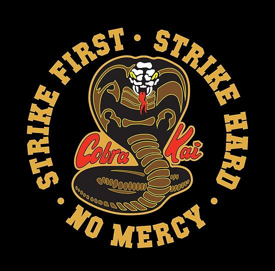 Inspired by the Karate Kid / Cobra kai – Strike First – Strike Hard – No Mercy HD Logo / Ideal on Black or Darker Coloured T-Shirts / Check out other Rare Variants on this theme / Here: / Cobra kai – Strike First Strike Hard No Mercy / Thanks for Shopping Buy / :) • Also buy this artwork on wall prints, apparel, stickers, and more.