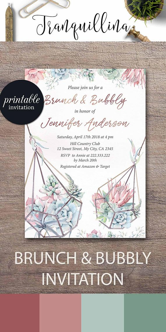 Succulent Brunch Invitation Brunch And Bubbly Bridal Shower