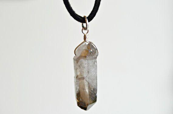 Leather Smokey Quartz Necklace Crystal Choker by IndigoLizard