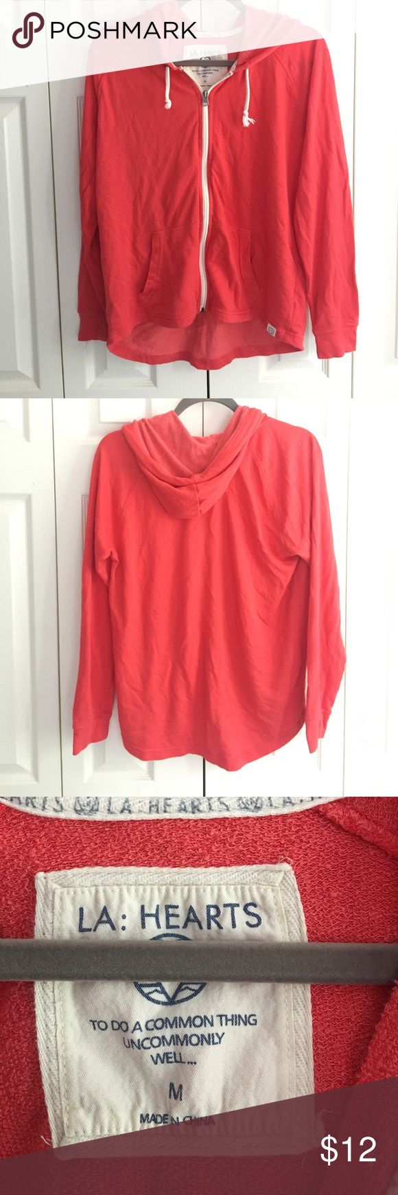 LA Hearts 🖤 Zip Up Hoodie Reddish / orange color, size medium, and very comfortable! Good used condition - slightest start of some pilling (photo). Bought from Pacsun Tops Sweatshirts & Hoodies
