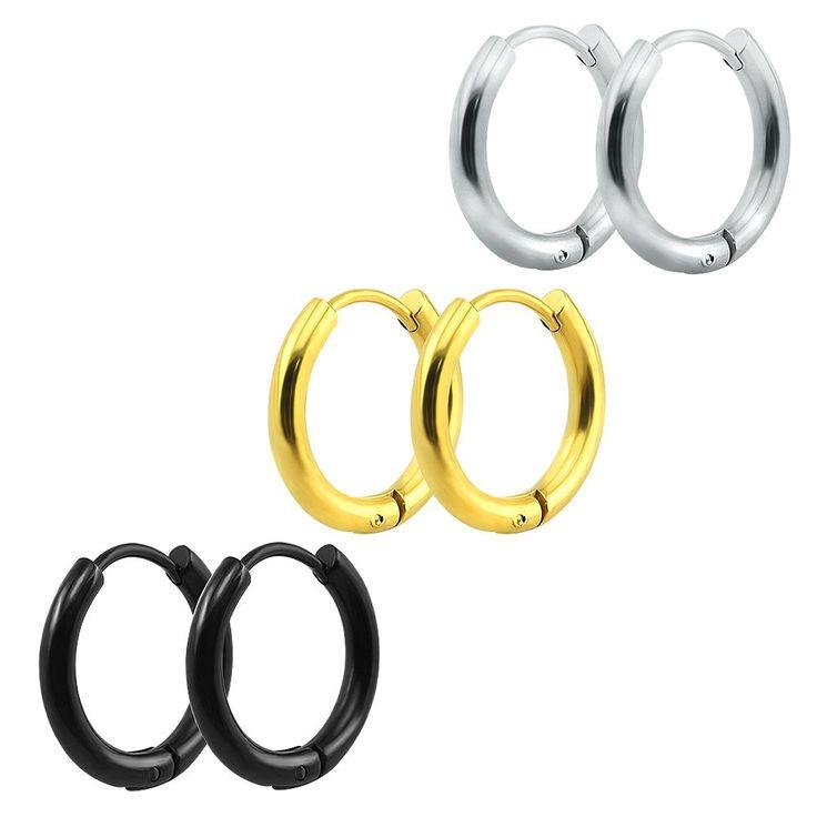 Pequenos Brincos de Argola de Prata de Ouro de Aço Inoxidável Brinco de Argola para Mulheres Homens Anéis de Orelha Clipe Colorido Crioulos Huggie Brincos Círculo