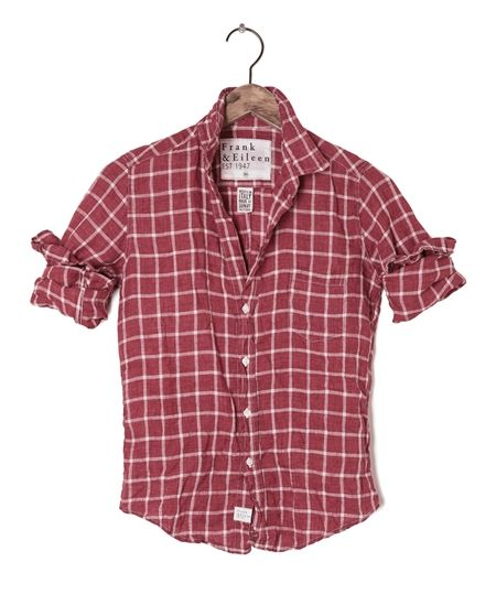 Womens Barry Linen Plaid Shirt