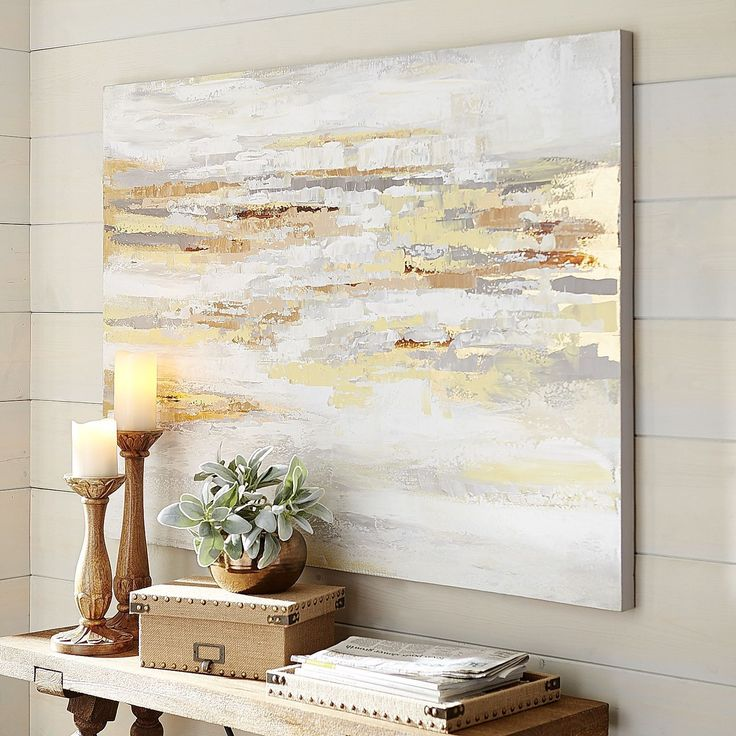 Muted shades multiply your options when considering wall art for your home or office. Our value-priced abstract is hand-painted on canvas and wood and boasts a very current and modern palette that includes washes of yellow, gold, gray and alabaster. Play up the colors with decorative accents such as pillows, lamps or an area rug. Presto! You're a genius. And practical, too.