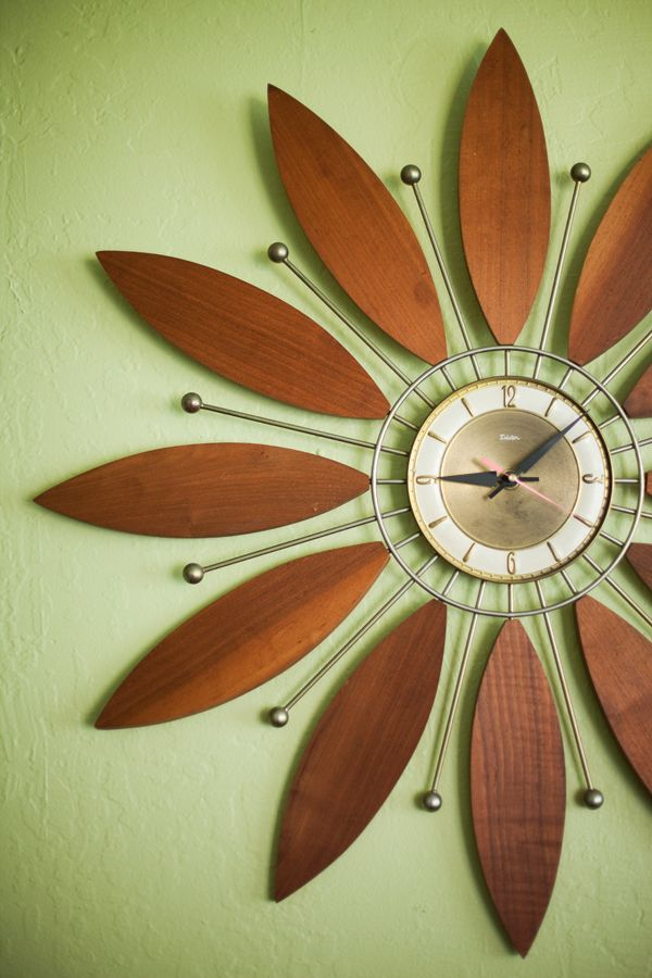 Asian-Inspired Wall Clock | ... , green, Maui bungalow, flower clock, green teapot, sage green walls