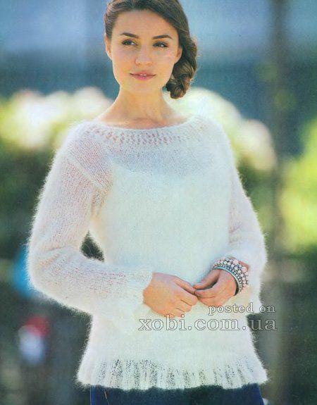 белый пушистый пуловер