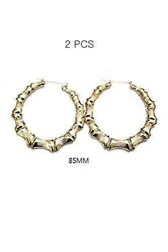 8331c0fa0 Womens Urban Chic Ghetto Fabulous Bamboo Hoops Earrings ER-074 (Gold 2 PCS)