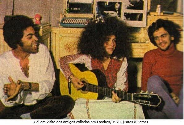 Gilberto Gil, Gal Costa e Caetano Veloso em Londres, 1970, durante o exílio imposto pela ditadura militar.