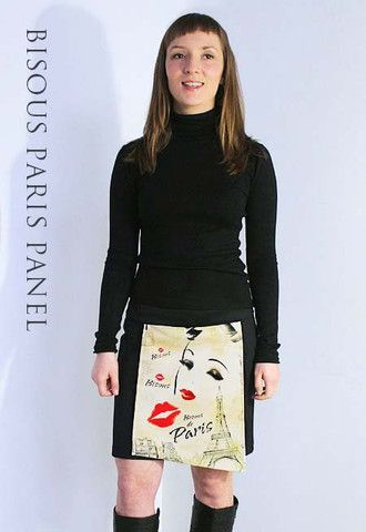 Bisous Paris Panel | Zippy Skirts -A unique designer chic Paris inspired printed asymmetrical zip-on panel.  Quickly attaches to Zippy's Love to Travel skirt at front hidden waistband zip.  Flattering asymmetrical panel design at http://www.zippyskirts.com.au  Australian designed and made – support local!
