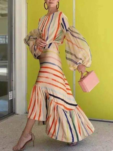 Fashion Round Neck Striped Dress 1