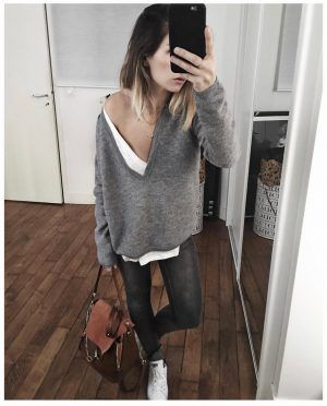 Pull cachemire gris