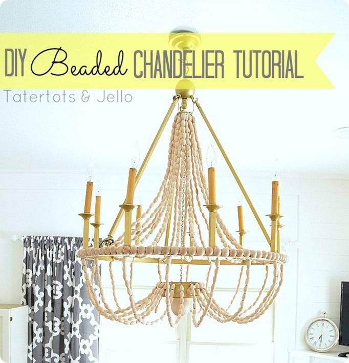 15 best beaded chandeliers images on pinterest chandeliers how to make a diy wood beaded chandelier tatertots and jello with making a chandelier aloadofball Image collections