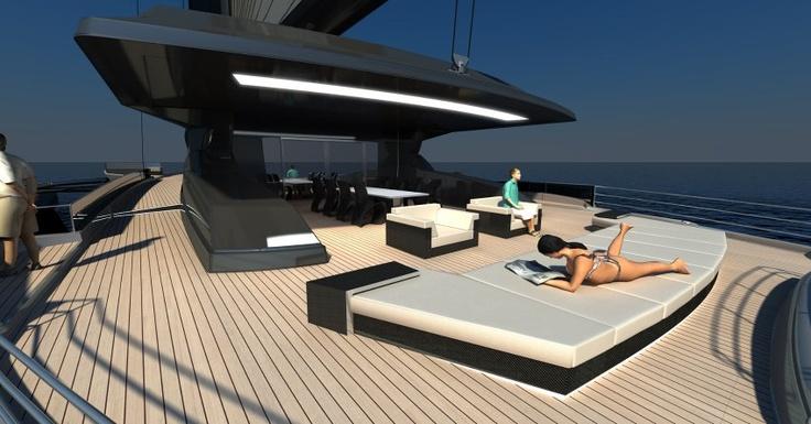 Reservierung unnötig: An Bord der CXL sind keine Handtücher nötig, um sich einen Platz auf der Sonnenliege zu reservieren. Das Boot ist selbst bei voller Auslastung aller Kabinen groß genug für die Vorlieben aller Passagiere.On The, Sinding Keine, Das Boots, For The, Motors Vehicle, Lifeboat 行 船, Red Blue, Itself, Couchchair 居 坐