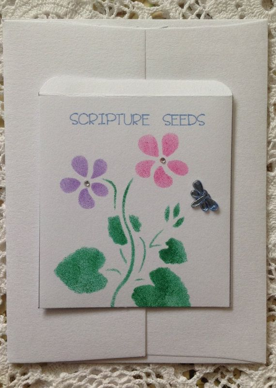 Scripture Seeds, Stencilled Gift Envelope With Five Scripture Verses Inside, made by me.