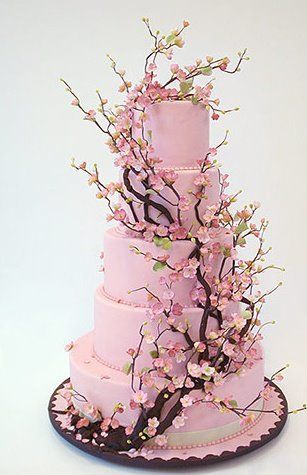 I don't have a wedding board or anything, but I couldn't help but post this cake!  We probably wouldn't do it in pink though! ;)