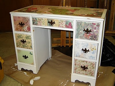 Restored, repainted, and decoupaged desk                                                                                                                                                                                 More