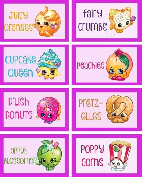 shopkins food labels via Mandy's Party Ideas