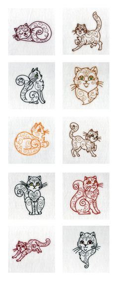 Swirly Cats Embroidery Machine Design Details