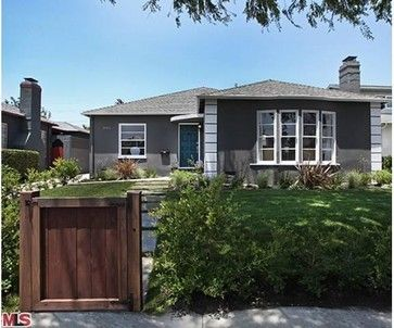 Dunn Edwards Boat Anchor paint, dark gray exterior paint, white trim, wood fence, path, landscaping, turquoise front door, French, Southern California, Los Angeles