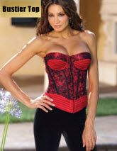 red hot satin bustier top