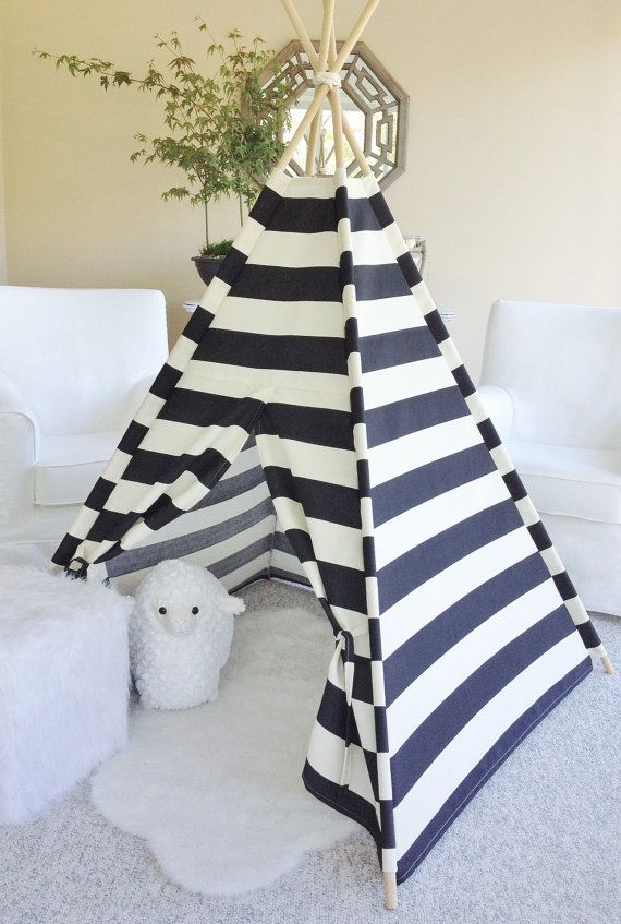 Stripe Indoor/Outdoor Fabric Play Tent Teepee by AshleyGabby
