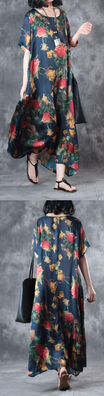 new 2017 print l silk dresses short sleeve maxi dress 4
