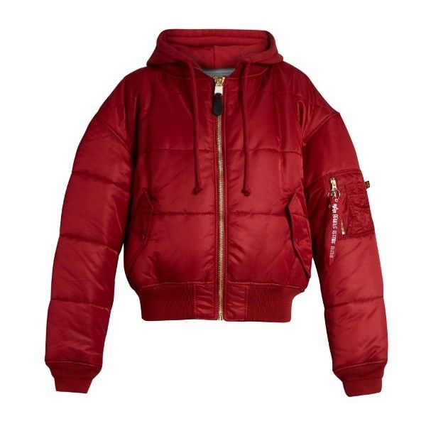 VETEMENTS X Alpha Industries Reversible Hooded Bomber Jacket ($2,295) ❤ liked on Polyvore featuring outerwear, jackets, blouson jacket, alpha industries, flight jacket, red bomber jacket and double face jacket