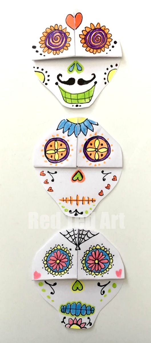 LOVE these Day of the Dead Sugar Skull Bookmarks. Where craftiness meets artiness!! <3 So fun and a great project for the classroo! We do love Corner Bookmark Designs and this is a great one for Day of the Dead. Sugar Skulls are so beautiful.