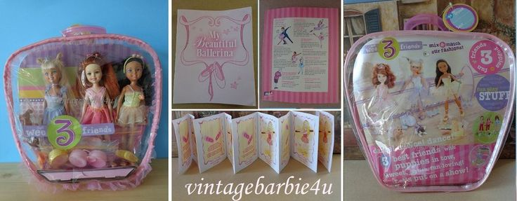 Mattel Barbie Stacie Doll Lot We 3 Friends Ballerina Dolls Pets Doll Case Tagged #Mattel #DollswithClothingAccessories