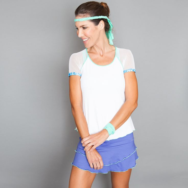 Cap-sleeve Top by Denise Cronwall, Denise Cronwall Activewear Riviera Collection, #activewear, #tennis, #fitness, #workout, #apparel, #style, #fashion, #unique, #boutique, #training, #pants, #bra, #top, #designer, #skort, #skirt, #geocollection, #athleisure, #short