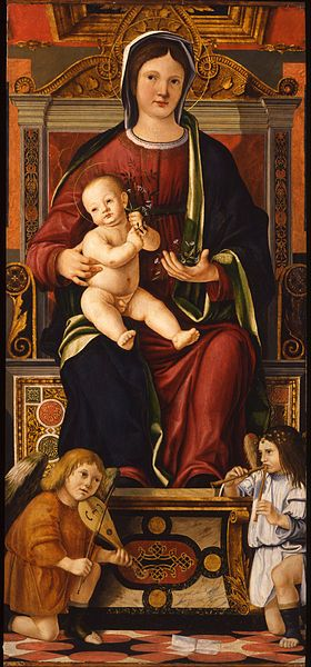 Cristoforo Caselli - The virgin and child enthroned with two musician angels, 1507-10