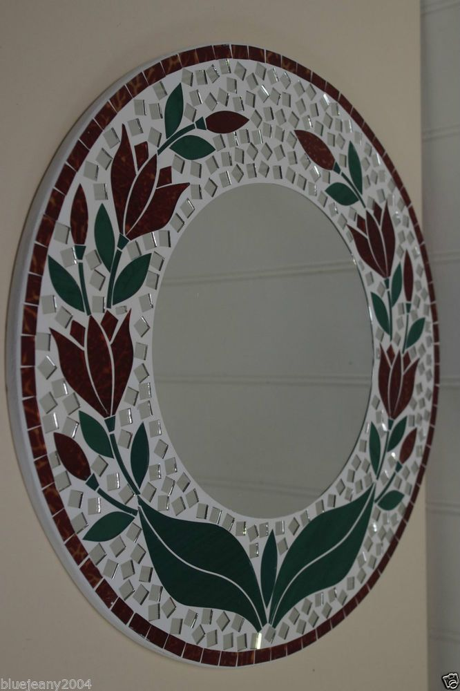 Mosaic Red Tulip Round Mirror 40 cm Includes Next Day Delivery
