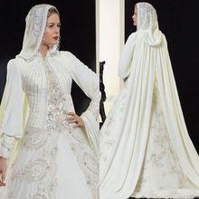 Novo Luxo 2016 MGS A Linha de Alta Neck Lace Appliqued Frisado do Assoalho-Comprimento Longo Vestidos de Casamento Muçulmano Árabe Dubai Nupcial vestido(China (Mainland))