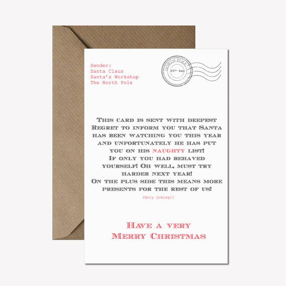 Funny Christmas card or pack - Funny holiday card - Letter from Santa card  - Naughty list card - Fun Christmas holiday card