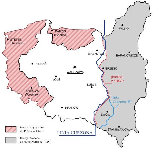 Rys. 7. Przesunięcie granic Polski w wyniku II wojny światowej. / Źródło: http://www.nowastrategia.org.pl/dyplomatyczna-gra-o-granice-polski/, dostęp: 05.01.2015.