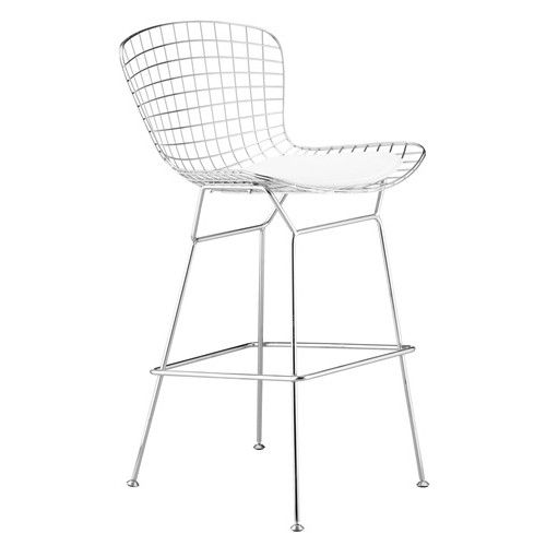 """Mid Century Bertoia Wire Bar Stool 30"""" Seat Height with White Seat Pad"""
