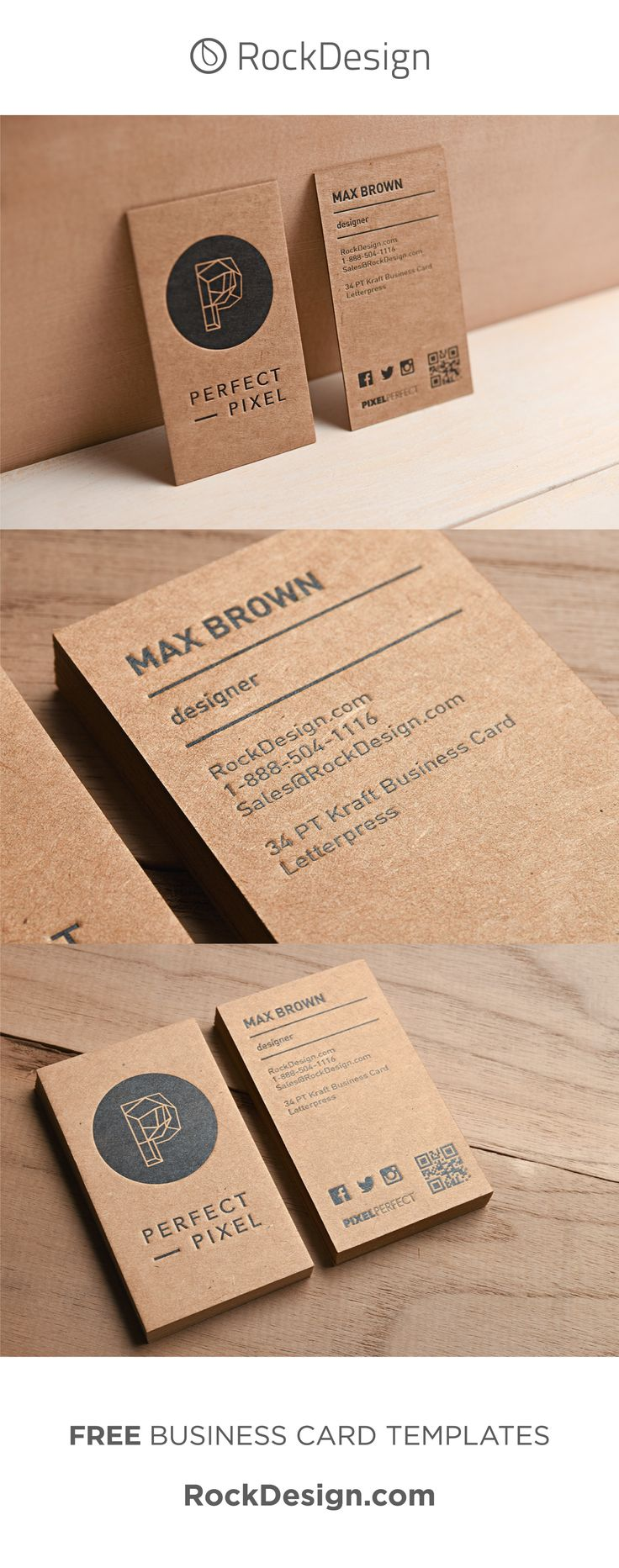 MODERN STYLISH LETTERPRESS KRAFT BUSINESS CARD – PERFECT PIXEL