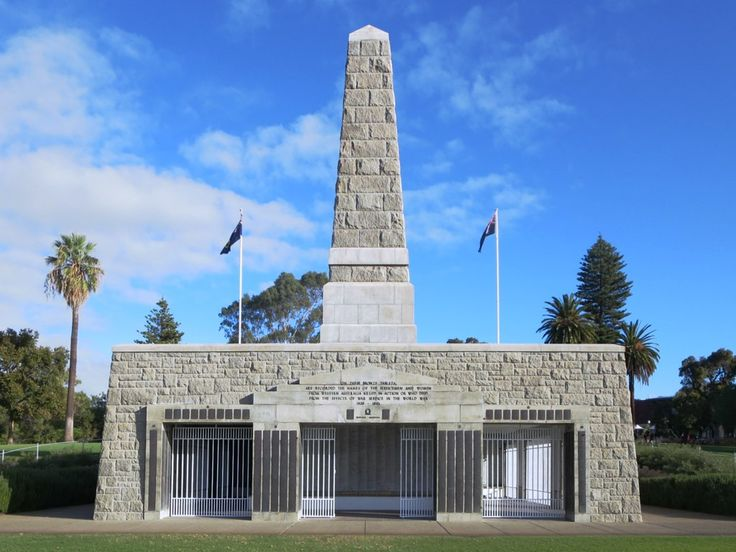 The State War Memorial (1929) overlooks Perth, Western Australia, from a bluff of Mount Eliza in Kings Park.