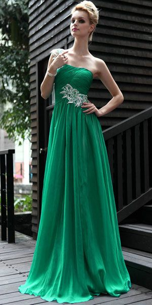 green prom dress long model with short hair