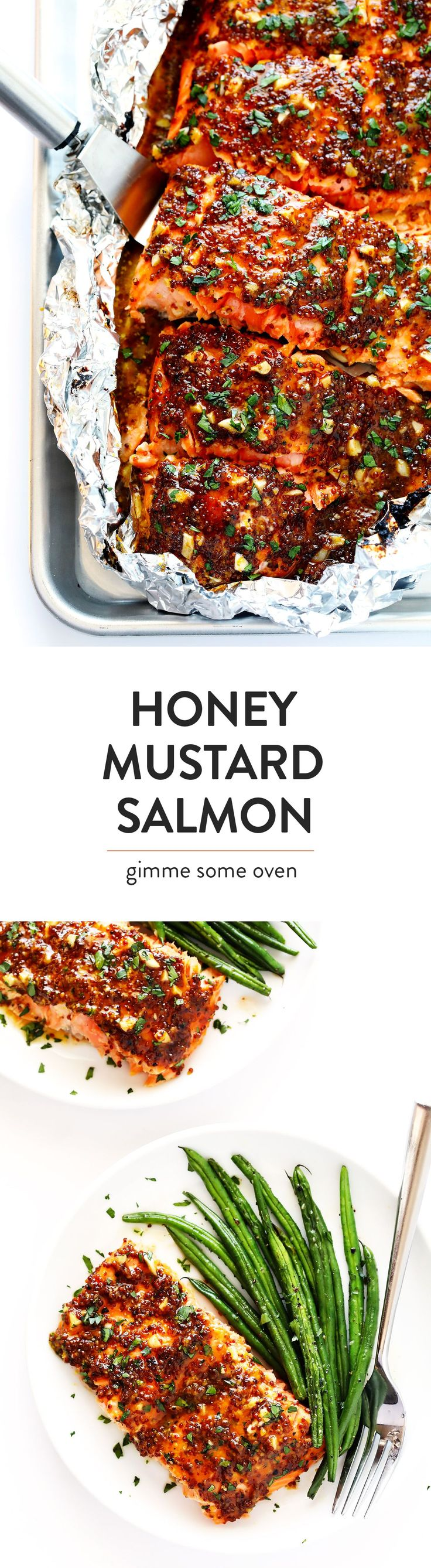 This 25-Minute Honey Mustard Salmon recipe is easy to make in the oven or grilled, it's full of amazing garlic honey mustard and herb flavors, and it's absolutely DELICIOUS! | gimmesomeoven.com http://eatdojo.com/healthy-recipes-salads-haters/