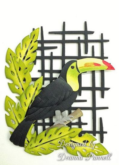 Designed by Deanna Pannell using Dee's Distinctively Toucan, Lattice and Trio Tropical Leaves. www.deesdistinctively.com