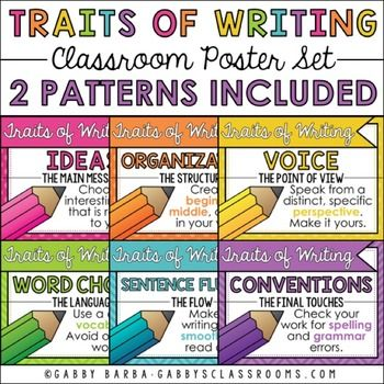 6 Traits of Writing Poster Set:These printables feature 6 writing traits posters with definitions and coordinating clip art. Every poster is included in both a polka dot and chevron version.This set includes:6 Posters (PDF Files)-Ideas-Organization-Voice-Word Choice-Sentence Fluency-ConventionsFor a chalkboard version, click here.Check out my matching products here.Check out my blog: gabbysclassrooms.com.Follow me on social media: Facebook  Instagram  Pinterest.For any questions, comments…