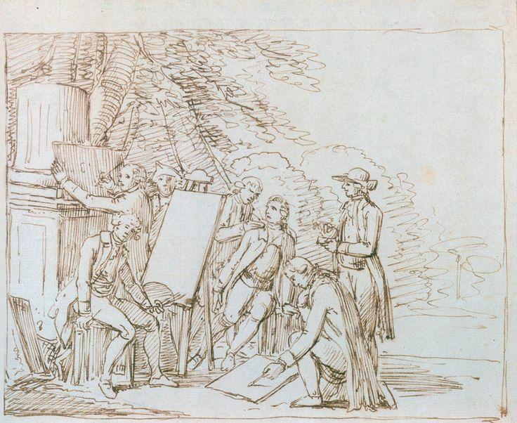 Friedrich Bury, Goethe in his Roman friend circle. Ink pen drawing, around 1786-1788. Goethe Museum Düsseldorf \/ Anton-and-Katharina-Kippenberg Foundation.