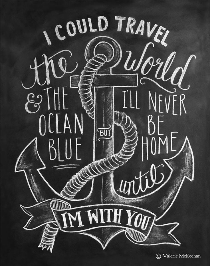 "This nautical print features the words ""I could travel the world and the ocean blue but I'll never be home until I'm with you"" hand lettered around a hand drawn anchor and rope illustration. ♥ Our fin"