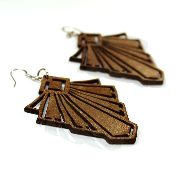 Art deco leather bronze earrings